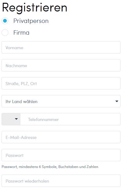 Abbildung 4: Registrierungsformular von Twino (Quelle: twino.eu)